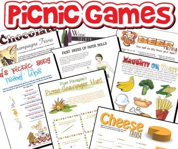 Printable party games picnic bbq camping games must for Birthday games ideas for adults