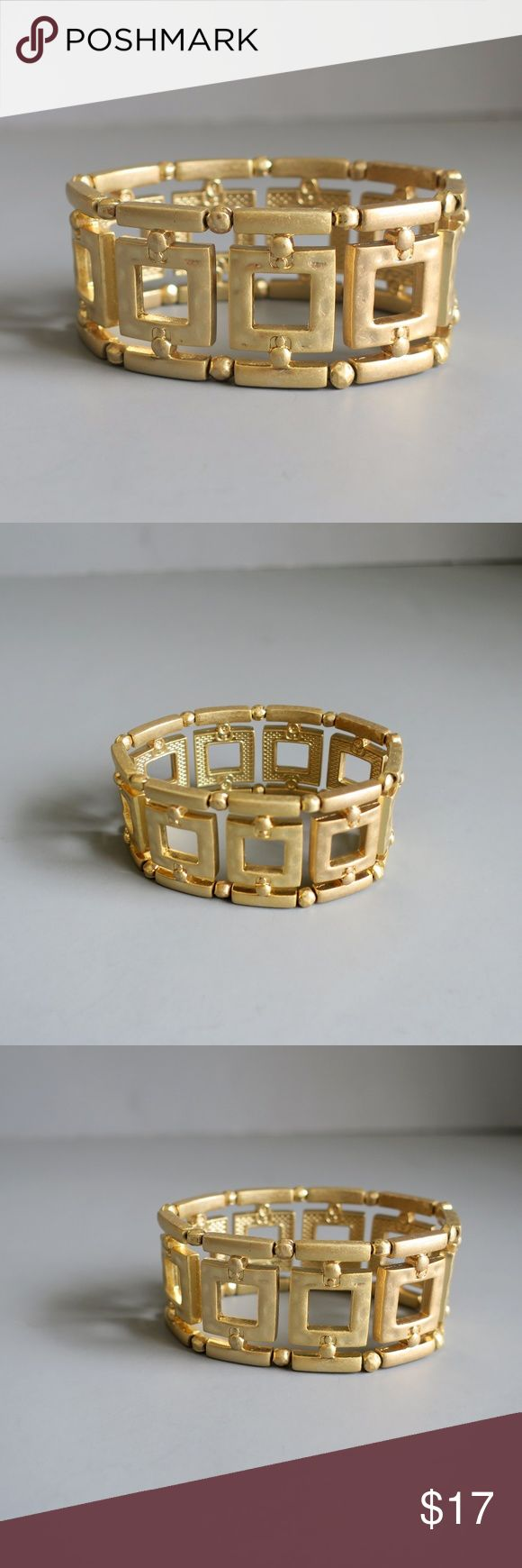 "Lia Sophia Crete Bracelet Lia Sophia's elegant ""Crete"" bracelet. Matte gold classic ""Greek"" style stretch bracelet measuring approximately 1 1/4 inches in height making it hard to miss. Excellent condition. Lia Sophia Jewelry Bracelets"