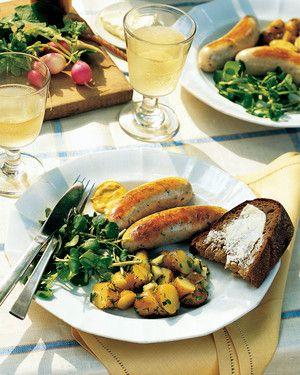 Other mild sausages, such as bockwurst and boudin blanc, are also delicious prepared this way. Serve the sausages with grainy or Dijon mustard.