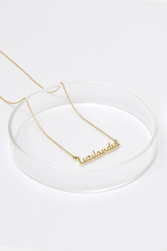 Freshfiber Hashtag Personal Name Jewelry Casted in Solid 18K Gold   From Freshfiber.com