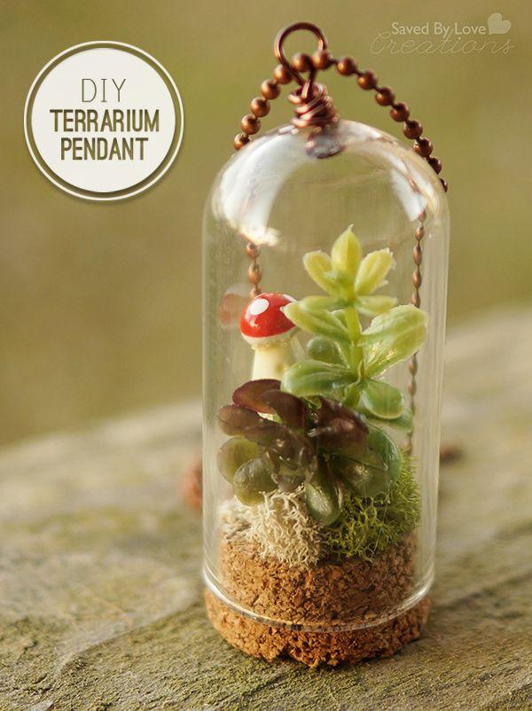 DIY Terrarium Necklace Tutorial using Tim Holtz Corked Cloche @savedbyloves and 50+ DIY Terrariums