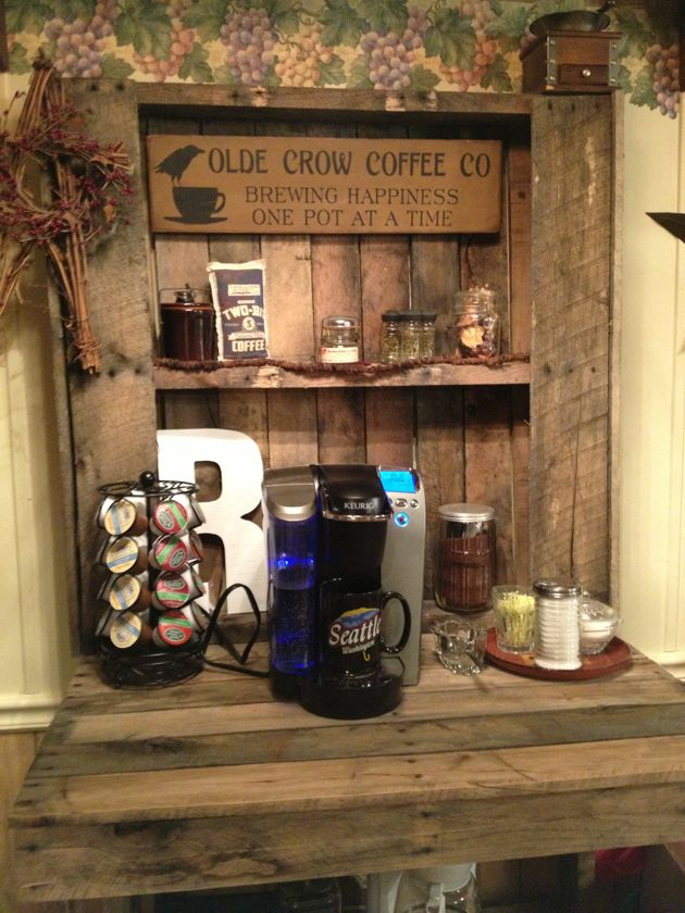 Coffee bar made from pallets!! Make mine white please