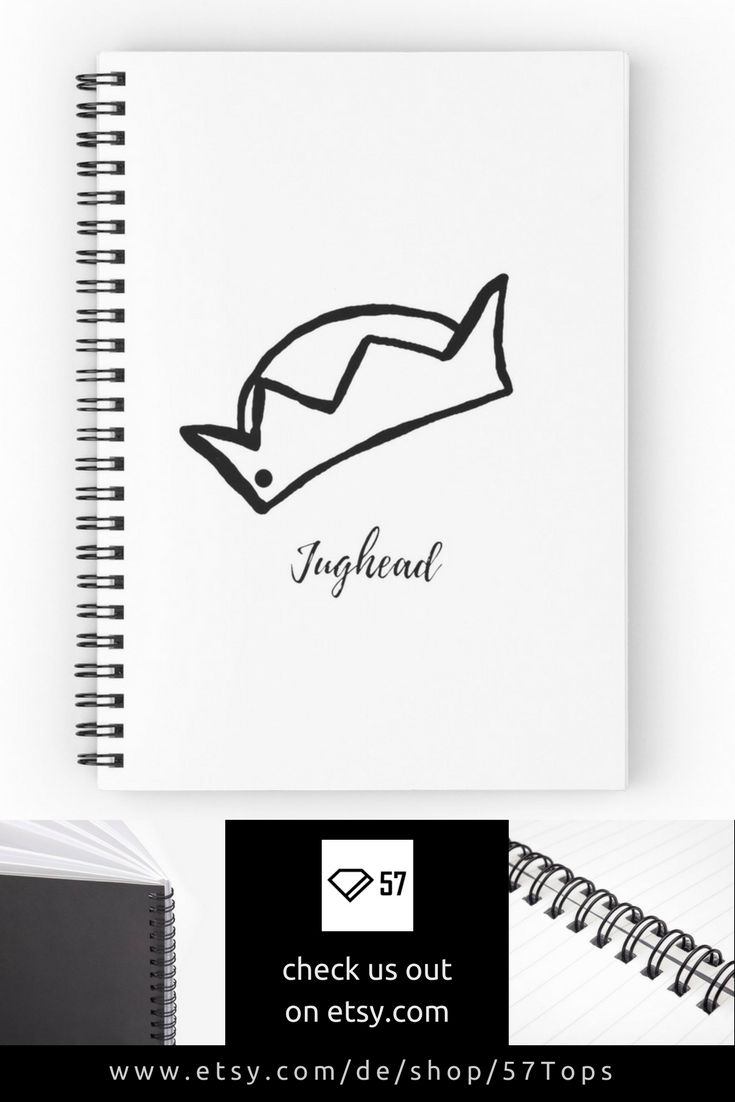Jughead's Crown Hat Black Ink Print Design Notebook Riverdale Inspired Lined Or …