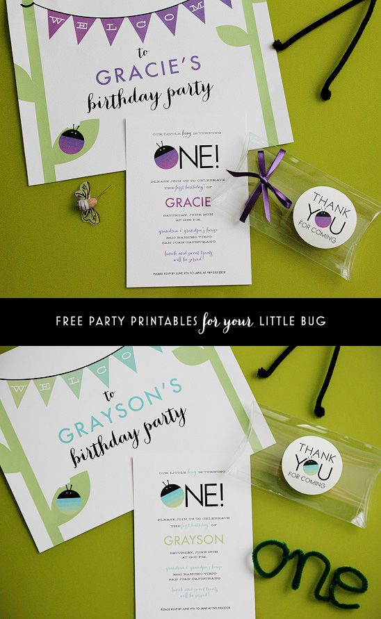 design birthday party invitations free%0A Free printable party set for a bugthemed first birthday party