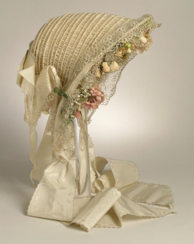 Bonnet: ca. late 1850's, English or American, silk taffeta, various embellishments.