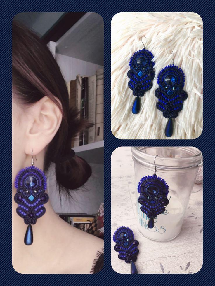 Soutache earrings rękodzieło navy blue