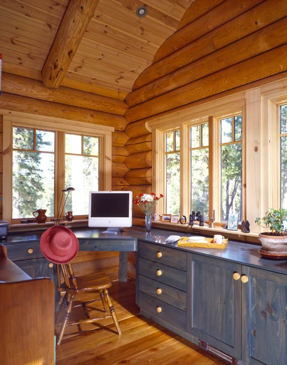 Log Home Office I Like The Build In Idea For My Craft