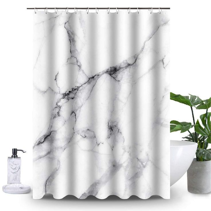 Uphome Marble Bathroom Shower Curtain, Heavy Duty White and Grey Fabric Shower Curtain for Bathtub Showers, 3D Crack Design Decorative Brick Bathroom Accessories (72″ W x 72″ H