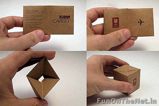 This company used a very clever and innovative tactic of promoting their business through their card itself. By simply folding the card in a specific way, it can be turned into a little box.