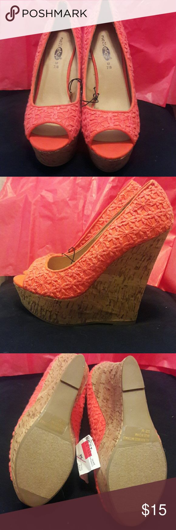 NWT Rue 21 platform cork  wedges in coral NWT Platform cork wedges in coral. Never worn  4 1/2 platforms with flowers embroidered accents. Rue 21 Shoes Platforms