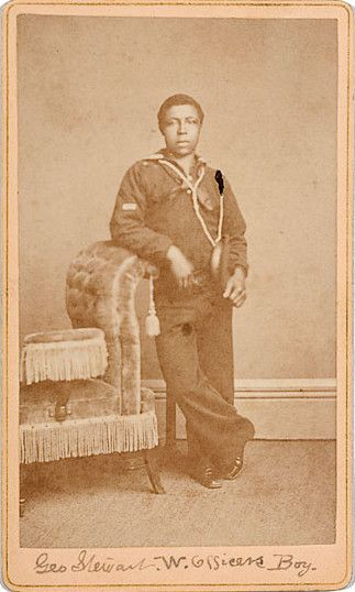 """ca. 1876, """"Geo. Stewart W. Officers Boy"""", [carte de visite portrait of a sailor], Solano Photographic Art Studio """" On verso """"'Pensacola' April 25, 1876""""..The Pensacola was launched in 1859, commissioned in September 1861. She joined Farragut's Gulf..."""