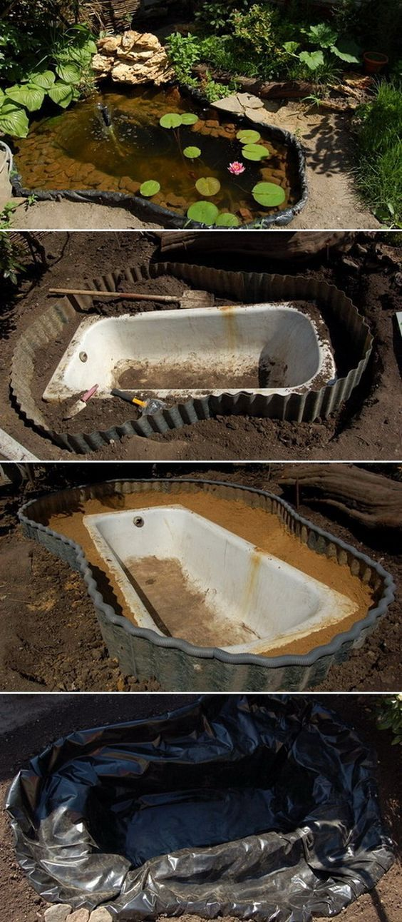 How to transform an old clawfoot bathtub into a charming garden pond with aquatic plants.