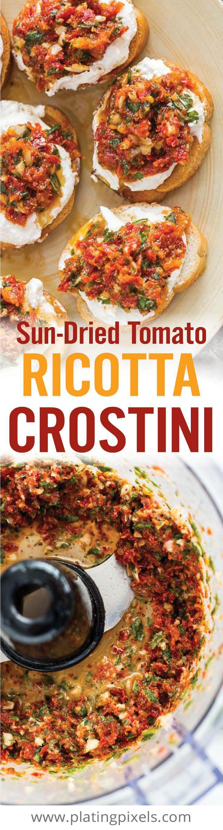 Msg 4 21+ Quick Sun-dried Tomato Ricotta Crostini party appetizer recipe. Sun-dried tomato, basil, garlic, pepper and ricotta over crispy crostini pieces. [ad] @warsteinerusa #RefreshinglyIndependent - www.platingpixels.com
