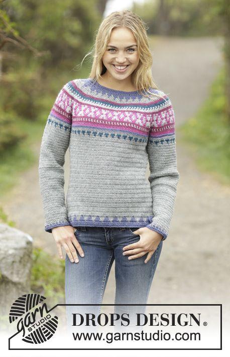 Helsinki - jumper with multi coloured pattern and round yoke by DROPS Design. Free #crochet pattern