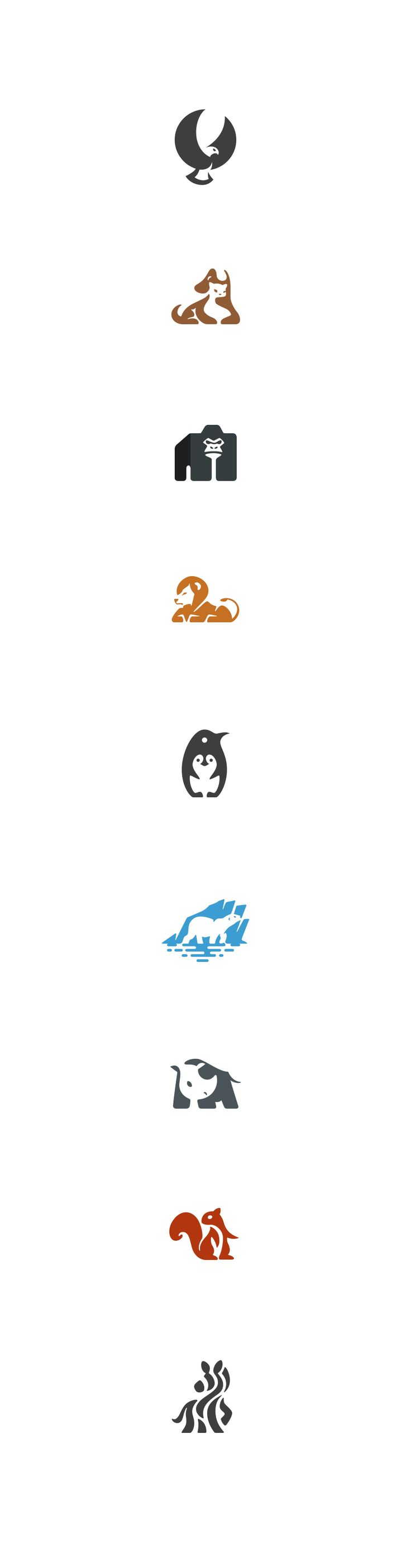 Negative space animals pt.2 #negative #space #logo #animals #marks #design #identity #brand #penguin #lion #rhino #gorilla #eagle #illustration #kreatank