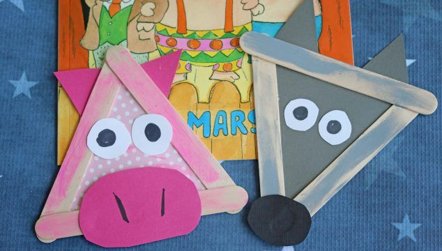 Popsicle Stick Three Little Pigs and Wolf – Kid Craft