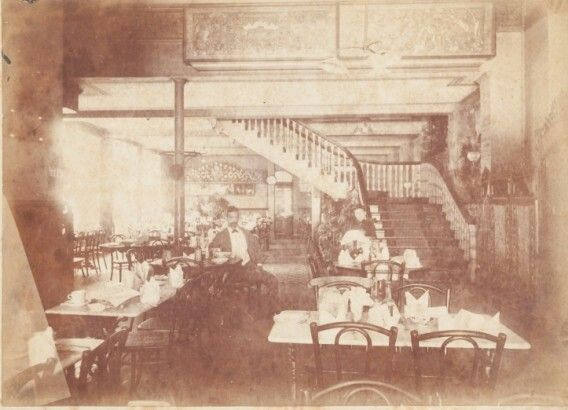 Mei Quong Tart 梅光達 inside his Loong Shan Tea Rooms at 137 King St in Sydney (year unknown).