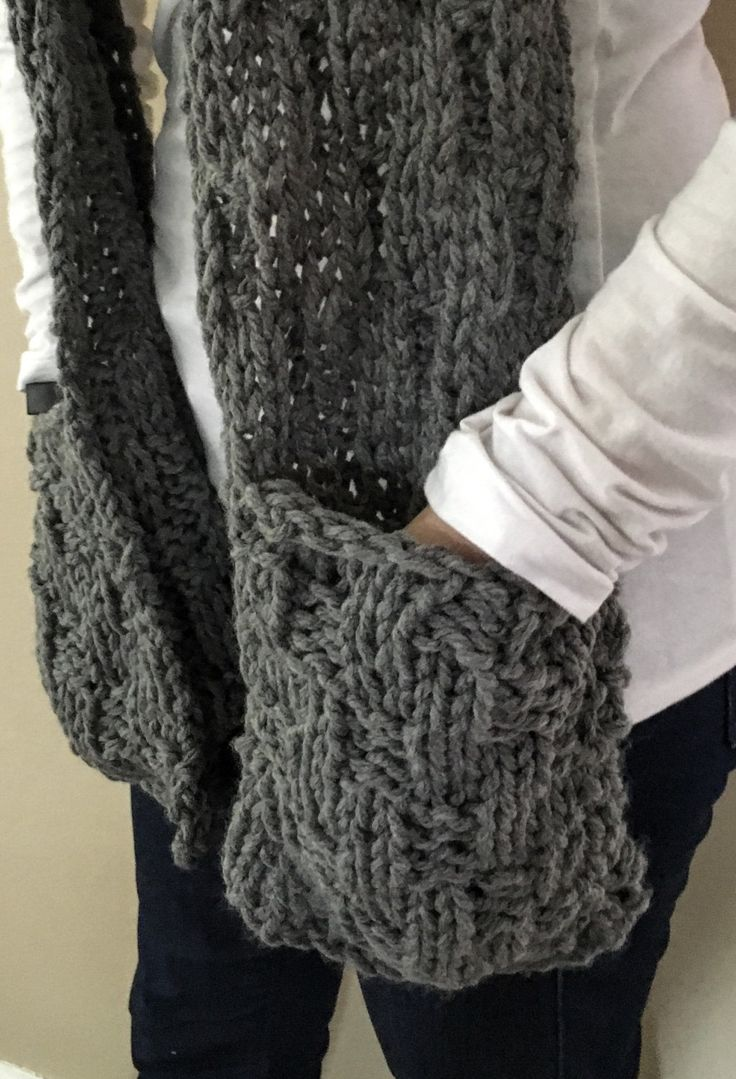 Long Scarf With Pockets, Hand Knit Scarf With Pockets, Chunky Knit Scarf, Gray Knit Scarf With Pockets, Scarf With Pockets, Gray Scarf by TheBestKnits on Etsy