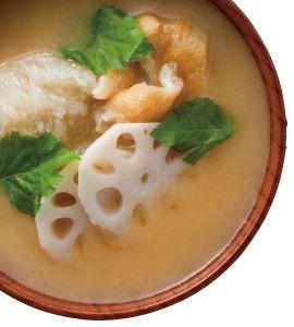 Miso: Lotus dumplings れんこんつみれ汁