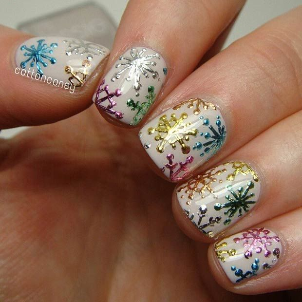 Colorful Snowflake Nail Design for Winter