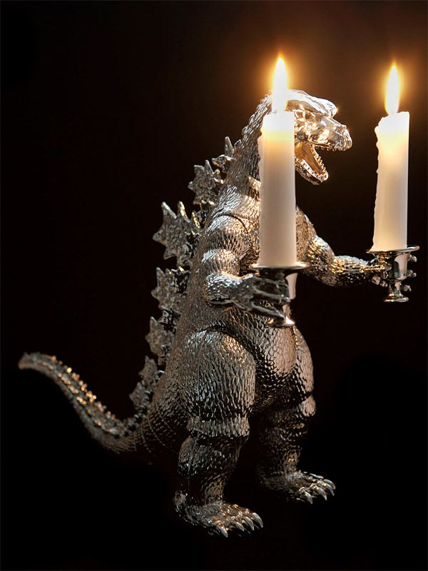 DIY Godzilla Candelabra. Aww yeah! This reminds me of the '80's movie One Crazy Summer! <3: Lights, Ideas, Romantic Dinners, Stuff, Awesome, Godzilla Candlesticks, Candles Holders, House, Godzilla Candelabra