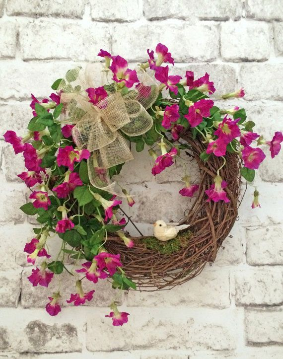 Bird Spring Wreath, Front Door Wreath, Summer Wreath Door, Silk Floral Wreath, Grapevine Wreath, Outdoor Wreath, Decor, Morning Glory Wreath, Wreath on Etsy, by Adorabella Wreaths!