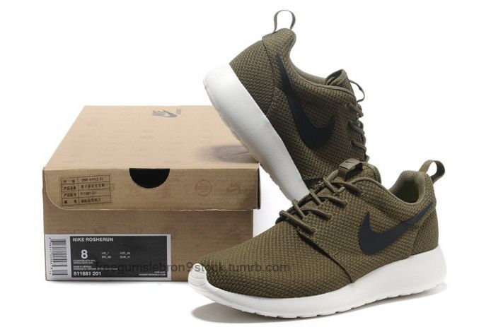 Order Mens Nike Roshe Run Shoes Breathable For Summer Army Green