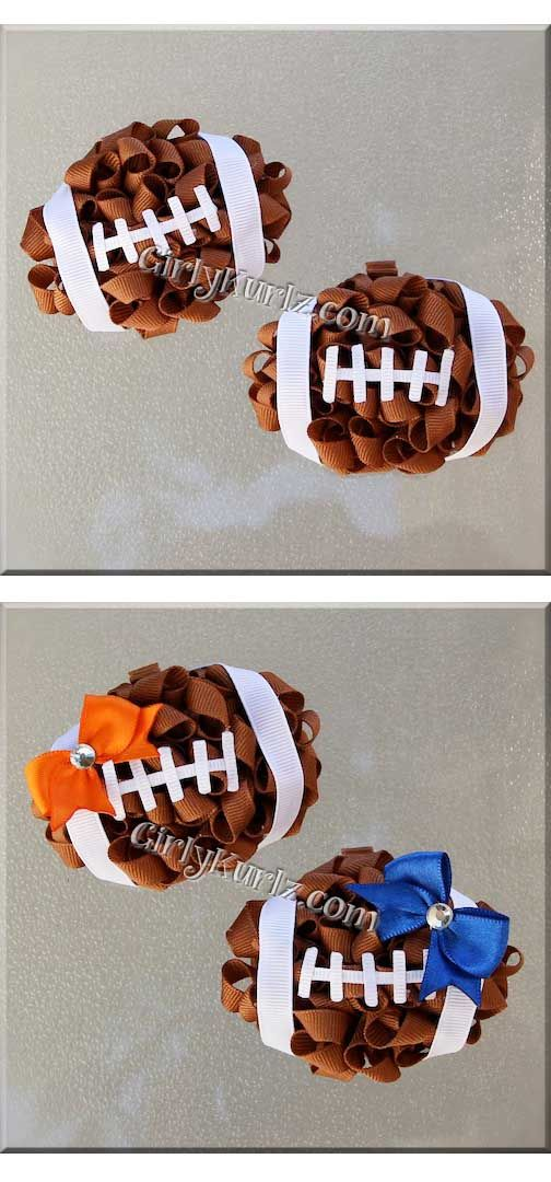 Football Kurly Pom Pom Hair Bows by GirlyKurlz.com