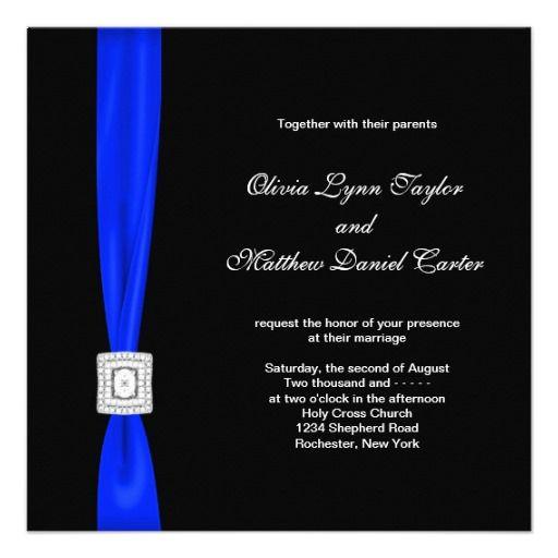 Royal Blue And Black Wedding Invitation