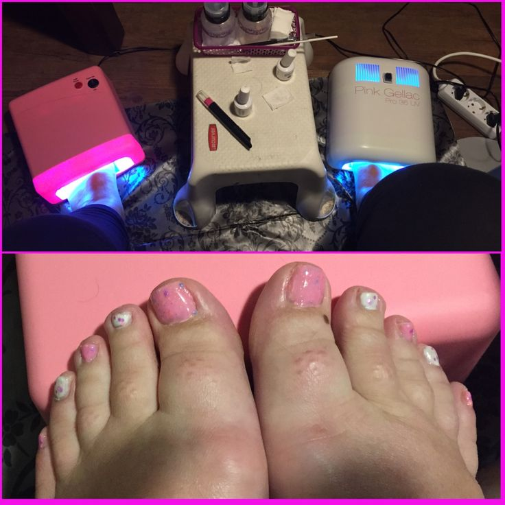 #toenails done. #gelpolish #nailart #pink #white #dots #nails