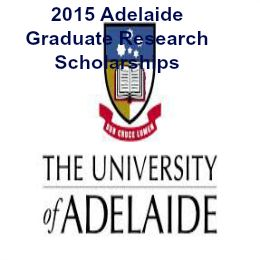 2015 Adelaide Graduate Research Scholarships (AGRS) for International Students in Australia , and applications are submitted till 30 April 2015 for semester 2 intake . University of Adelaide is inviting applications for a number of Graduate Research Scholarships available to its recent graduates to continue their education via a Masters or Doctorate degree by research - See more at: http://www.scholarshipsbar.com/2015-adelaide-graduate-research-scholarships.html#sthash.RUEnuJ8X.dpuf