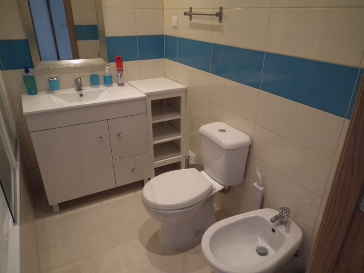 Bathroom in this great apartment Bath and shower with bidet wash sink and toilet. Heated for the cooler winter months