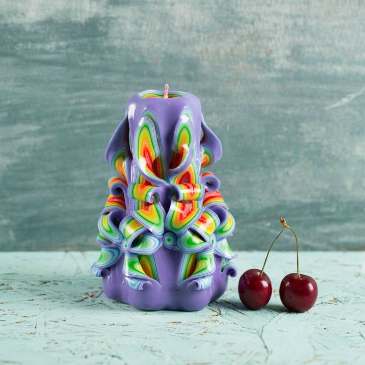 Christmas Eve dinner ideas, Purple Rainbow candle, Carved candle, Small candle, Unusual Christmas gifts, Housewarming gift ideas, Home decor http://EveArtCandles.etsy.com  #carved #candle #decorative #christmas #gift #idea #wedding #birthday #mothersday