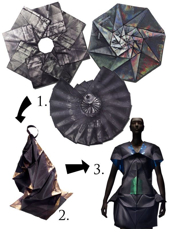"""For his line """"132 5"""", Issey Miyake invented a foldable dress that can be flattened into 2 dimensional form. To make an intricate clothing pattern like this one, Issey Miyake using a software program, devised by computer scientist Jun Mitani, that generates intricate three-dimensional shapes from a single flat sheet of paper."""