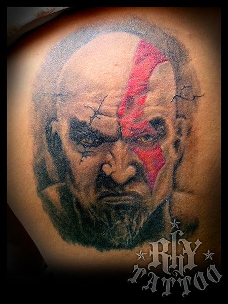 Healed kratos portrait tattoo. My very first tattoo on-the ...