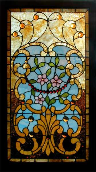 Stained-Glass:  Victorian #Stained-Glass and Jeweled Window with extensive use of rippled and hand-rolled opalescent glass. This is truly an exceptional window, with totally original glass and frame, circa 1895.