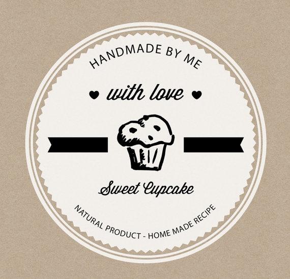 Rustic cardboard paper handmade cupcake label - rustic ...