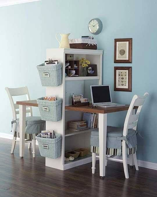 desk for two bookshelf. Love this idea for the spare (soon spare) bedroom. Only using one side though. Love those hanging baskets!