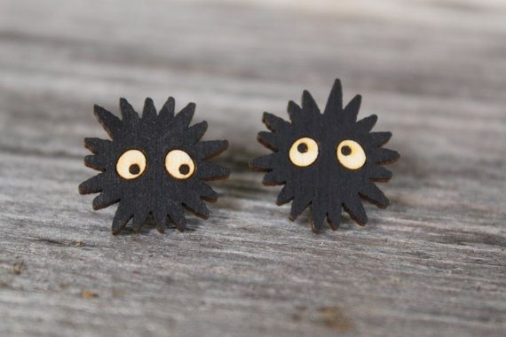 Spirited Away Soot Sprite Stud Earrings от ObakeStyle на Etsy