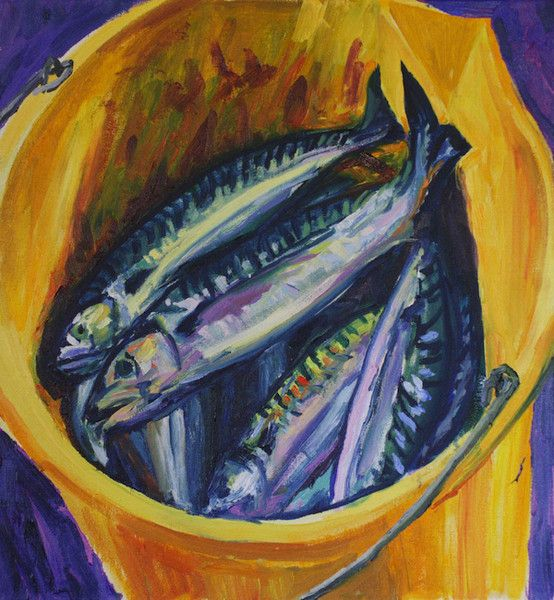 Contemporary Fine Art from the Outer Hebrides. 'Campbell's Mackerel' oil painting by Derek Scanlan. For more examples of the artist's work visit Mangurstadh Gallery on the Isle of Lewis.