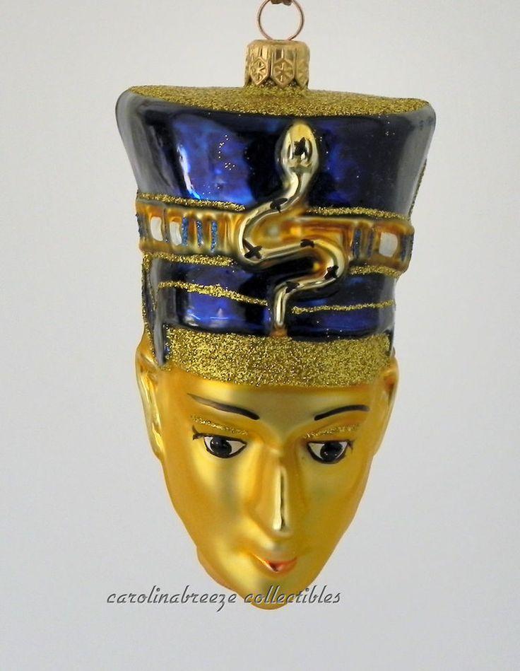 Nefertiti of Egypt Blown Glass Christmas Ornament NIB Komozja Poland