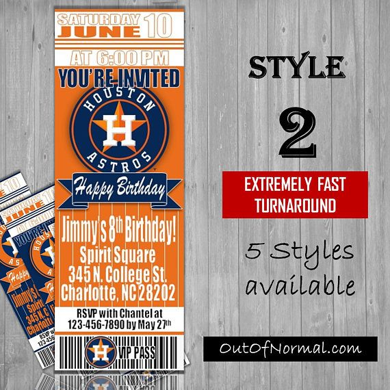 Houston Astros Themed Birthday Invitation Tickets  Baseball