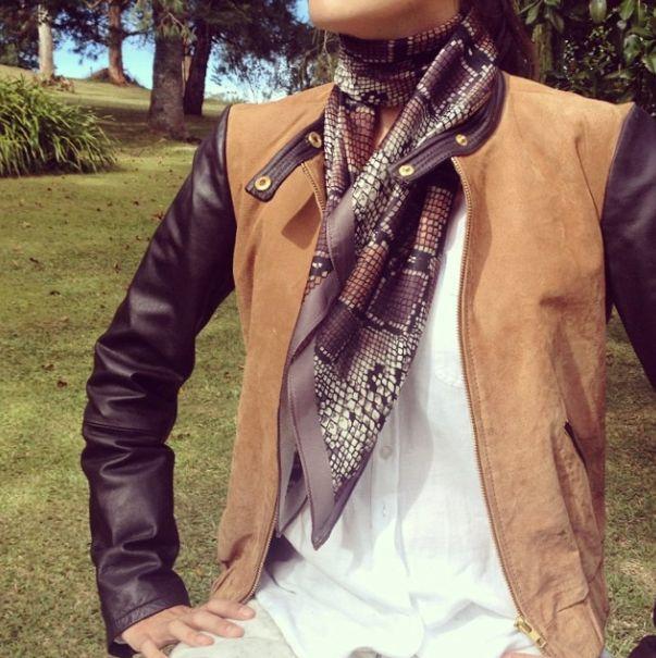 snake print silk scarf