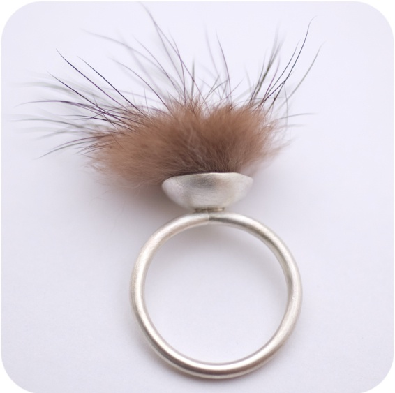 wild. recycled mink fur ring.