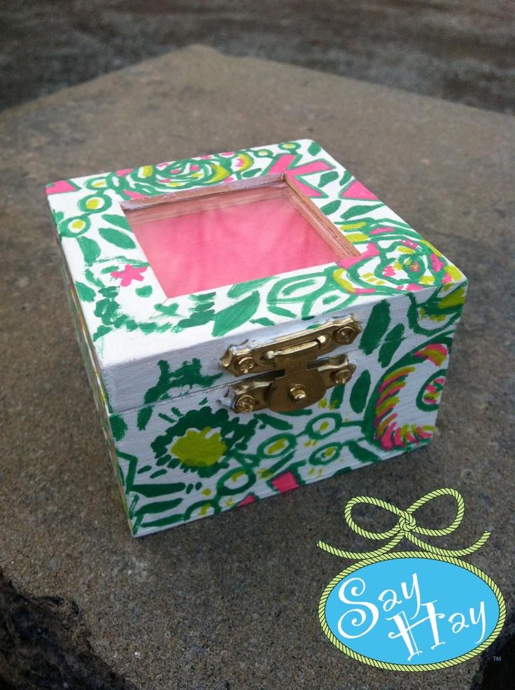 Hand painted sorority pin box - I can monogram the pink shadowbox asap!