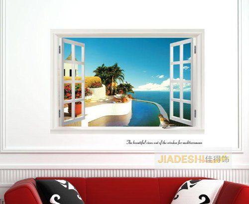 ZeleSouris 3D Mediterranean Sea View Window Film Wall Stickers Art Mural & Wallpaper for Bedroom Living Room (Mediterranean Sea View) ZeleSouris http://www.amazon.co.uk/dp/B00IJ3ZAAU/ref=cm_sw_r_pi_dp_PMzJtb03XT0S1F8H