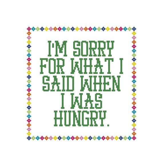 Funny Cross Stitch Hungry Counted Cross by CowbellCrossStitch
