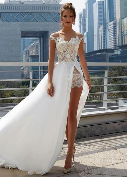 Off Shoulder See Through Cheap Wedding Dresses Online, Side Slit A-line Bridal Dresses, QB0383