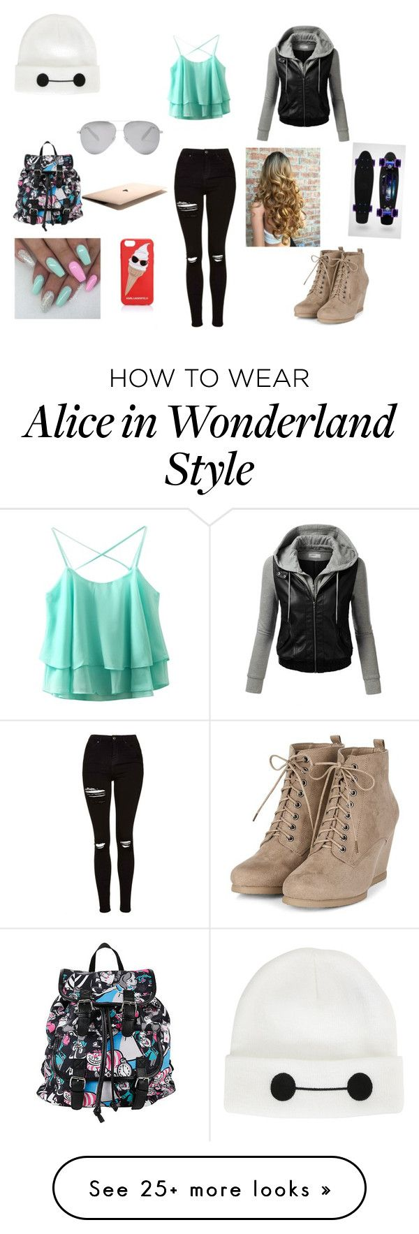 """Untitled #234"" by mollykmcnicol on Polyvore featuring Topshop, Disney, J.TOMSON, Victoria Beckham and Karl Lagerfeld"