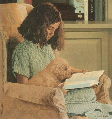 Girl reading to her puppy by John Weiss. Even the animals love reading wish that all of the people love reading too.
